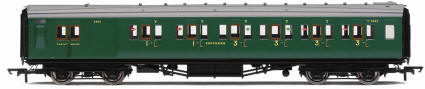 Hornby Model Railway Trains - R4341C SR Maunsell 3rd Class Brake Composite High Window Coach
