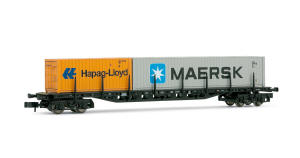 Arnold N Guage Model Railway - Hornby International - HN6118 Container wagon, type Sgjs716, loaded with 20� container �Hapag-Lloyd� and 40� container �MAERSK