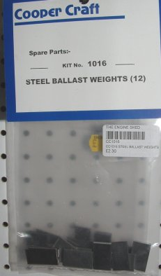 Cooper Craft - 1016 - Steel Ballast Weights X 12 - Model Railway Plastic Kits
