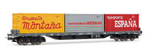 Electrotren HO Guage Model Railway - Hornby International - HE5180 Low side wagon RENFE, type Rs. With 3 containers