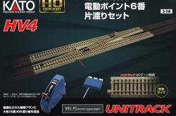 KATO Uni Track - HO / OO Gauge - HV4 Electric Turnout Expansion Set - K3-114