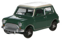 Oxford Diecast Almond Green / Old English White Austin Mini - 76MN003