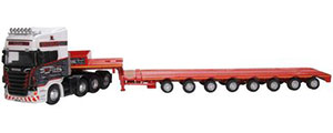 76SCA05LL - Oxford Diecast Scania Topline Nooteboom Low Loader Smiths, Bridgend