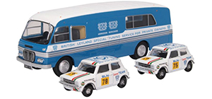 76SET54 - Oxford Diecast BMC Transporter & 2 Mini 1275GT Set British Leyland Ned
