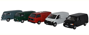 Oxford Diecast 5 Piece VW Van Set T1 / T2 / T3 / T4 / T5 - 76SET66