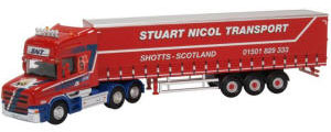 76TCAB010 - Oxford Diecast - Scania T Cab - Curtainside Stuart Nicol Transport