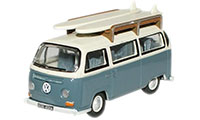 76VW003 - Oxford Diecast Fiord Blue / Arcona White VW Bus - Surfboards