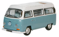 Oxford Diecast Chrome Blue White VW Bay Window Camper - 76VW020