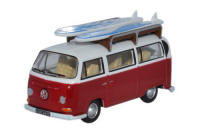 Oxford Diecast VW Bay Window Bus/Surfboards Montana Red / White - 76vw024