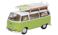 76VW028 - Oxford Diecast VW Bay Window Bus / Surfboards Lime Green / White