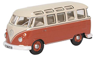 76VWS001 - Oxford Diecast VW T1 Samba Bus Sealing Wax Red Beige Grey