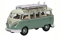 76VWS005 - Oxford Diecast VW T1 Van - Samba Bus / Surfboards Turquoise / Blue White
