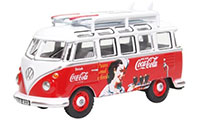 76VWS008CC - Oxford Diecast VW T1 Bus and Surfboard - Coca Cola