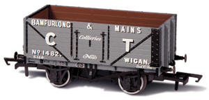 Oxford Rail - Bamfurlong & Mains CT Wigan 1482 - 7 Plank Mineral Wagon - OR76MW7012