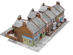 Superquick Model Card Kits - C5, C6 and C7 Red Brick Terrace Backs and Fronts and Corner Shops